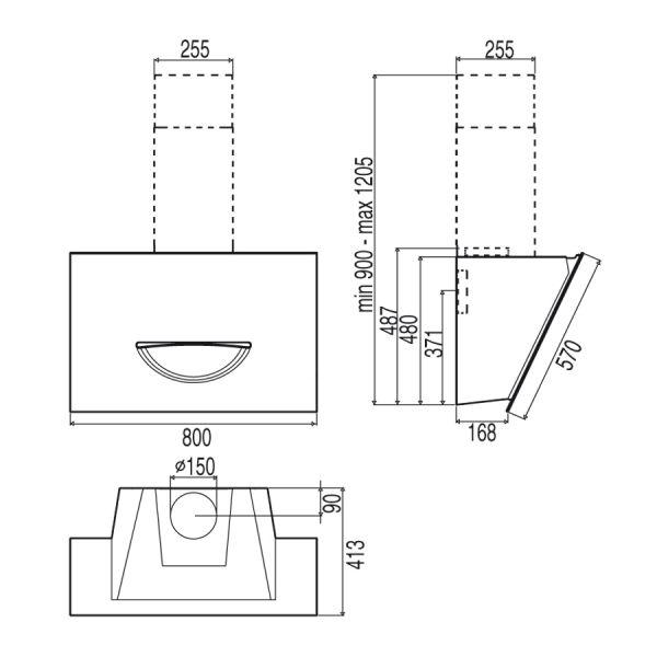 best dunstabzugshaube smooth hf schwarz 80 hai end. Black Bedroom Furniture Sets. Home Design Ideas